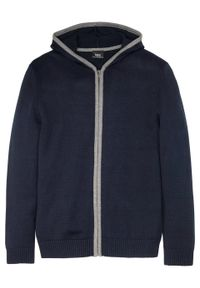 Niebieski sweter bonprix z kapturem, melanż