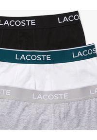 Lacoste - LACOSTE - 3-pack kolorowych bokserek z bawełny. Kolor: szary. Materiał: bawełna. Wzór: kolorowy