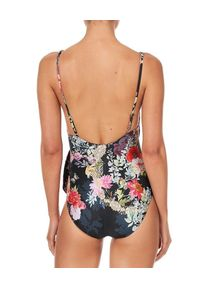 Camilla - CAMILLA - Jednoczęściowy strój kąpielowy z wiązaniem Hampton Hive. Kolor: czarny. Materiał: tkanina. Wzór: aplikacja