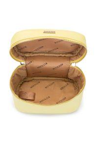 Wittchen - Damska kosmetyczka kuferek mała. Kolor: żółty. Materiał: skóra ekologiczna. Wzór: aplikacja, kolorowy #3