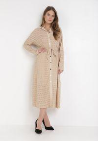 Born2be - Beżowa Sukienka Aqiarial. Kolor: beżowy. Materiał: koronka, materiał. Długość rękawa: długi rękaw. Wzór: koronka, ażurowy. Typ sukienki: rozkloszowane. Długość: maxi