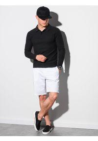 Ombre Clothing - Longsleeve męski bez nadruku L132 - czarny - XXL. Typ kołnierza: polo. Kolor: czarny. Materiał: bawełna, materiał, jeans. Długość rękawa: długi rękaw. Wzór: ze splotem