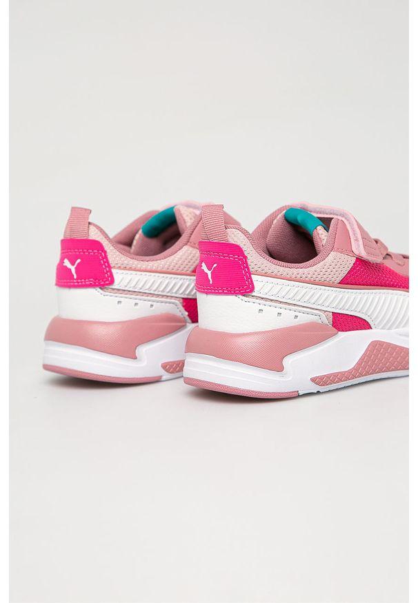 Różowe buty sportowe Puma z cholewką, na rzepy
