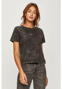 Czarna bluzka DKNY z nadrukiem, casualowa, na co dzień