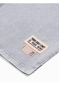 Ombre Clothing - T-shirt męski bawełniany S1379 - szary - XXL. Kolor: szary. Materiał: bawełna. Długość: krótkie. Wzór: geometria #4