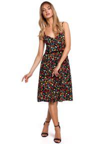 e-margeritka - Sukienka rozkloszowana midi na lato - l. Materiał: tkanina, wiskoza, materiał. Wzór: kwiaty. Sezon: lato. Typ sukienki: rozkloszowane. Długość: midi