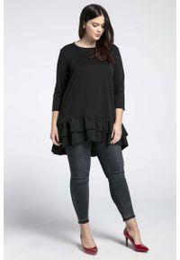 Czarna bluzka z długim rękawem Nommo plus size, z falbankami