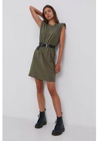 only - Only - Sukienka bawełniana. Kolor: zielony. Materiał: bawełna. Wzór: gładki. Typ sukienki: rozkloszowane
