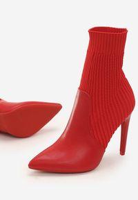 Czerwone botki na obcasie Renee