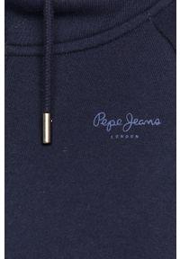 Niebieska bluza rozpinana Pepe Jeans z kapturem, gładkie, na co dzień, casualowa