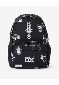 Kenzo - KENZO - Czarny plecak Sing & Symbol. Kolor: czarny. Materiał: nylon. Wzór: aplikacja, nadruk