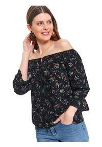 TOP SECRET - Printowana bluzka damska z bufiastymi rękawami. Okazja: na imprezę. Kolor: czarny. Materiał: jeans, wiskoza. Wzór: kwiaty, gładki, nadruk. Sezon: jesień. Styl: klasyczny, elegancki