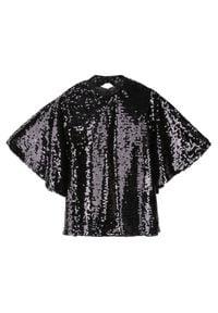 Czarna bluzka TOP SECRET z dekoltem na plecach, na imprezę