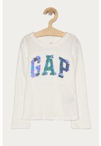Biała bluzka z długim rękawem GAP z aplikacjami, długa