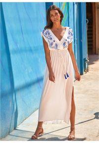 Biała sukienka bonprix maxi, na lato, z haftami