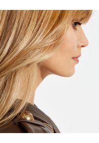 Balmain - BALMAIN - Skórzana ramoneska. Kolor: brązowy. Materiał: skóra. Wzór: gładki. Styl: rockowy, klasyczny, elegancki