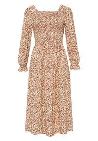 Sukienka bonprix beżowy w kwiaty. Kolor: beżowy. Wzór: kwiaty