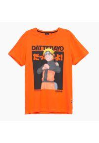 Cropp - Koszulka Naruto Shippuden - Pomarańczowy. Kolor: pomarańczowy