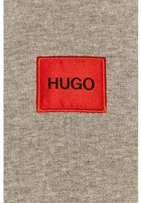 Hugo - Bluza bawełniana. Okazja: na co dzień. Typ kołnierza: kaptur. Kolor: szary. Materiał: bawełna. Długość rękawa: długi rękaw. Długość: długie. Styl: casual
