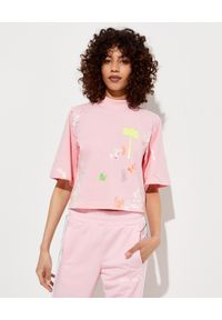 PALM ANGELS - Różowa koszulka z nadrukami. Kolor: wielokolorowy, fioletowy, różowy. Materiał: bawełna. Wzór: nadruk