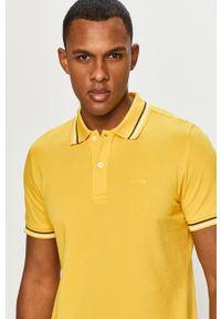 Żółta koszulka polo Geox gładkie, na co dzień, polo, krótka