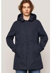 Niebieska kurtka medicine bez kaptura, casualowa, gładkie, na co dzień
