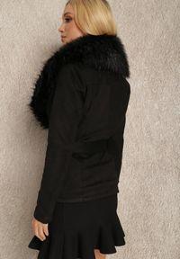Renee - Czarna Kurtka Pentherine. Kolor: czarny. Materiał: futro. Wzór: aplikacja