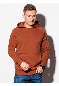 Ombre Clothing - Bluza męska z kapturem B1085 - ceglasta - XXL. Typ kołnierza: kaptur. Kolor: czerwony. Materiał: bawełna, poliester