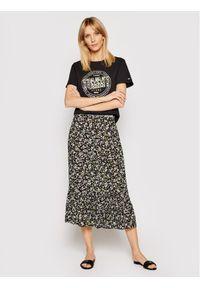 Tommy Jeans T-Shirt Floral Print DW0DW10198 Czarny Slim Fit. Kolor: czarny. Wzór: nadruk
