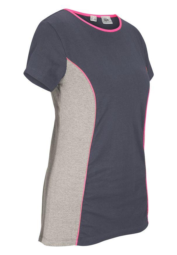 Shirt sportowy, krótki rękaw bonprix nocny niebieski - różowy neonowy. Kolor: szary. Długość rękawa: krótki rękaw. Długość: krótkie. Styl: sportowy