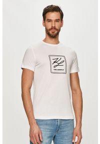 Biały t-shirt Karl Lagerfeld na co dzień, z nadrukiem