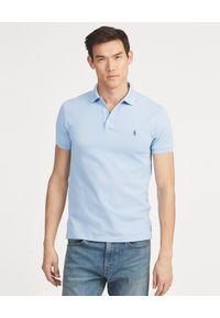 Ralph Lauren - RALPH LAUREN - Koszulka Polo Slim Fit. Typ kołnierza: polo. Kolor: niebieski. Materiał: bawełna, prążkowany. Wzór: haft, aplikacja. Styl: klasyczny