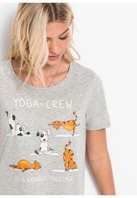 T-shirt z nadrukiem bonprix jasnoszary melanż. Kolor: szary. Długość rękawa: krótki rękaw. Długość: krótkie. Wzór: melanż, nadruk