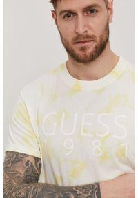 Guess - T-shirt. Okazja: na co dzień. Kolor: żółty. Materiał: dzianina, bawełna. Wzór: nadruk. Styl: casual #6