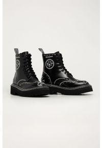 Czarne botki Karl Lagerfeld z okrągłym noskiem, z cholewką