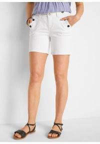 Szorty dżinsowe ze stretchem bonprix biały. Kolor: biały #6