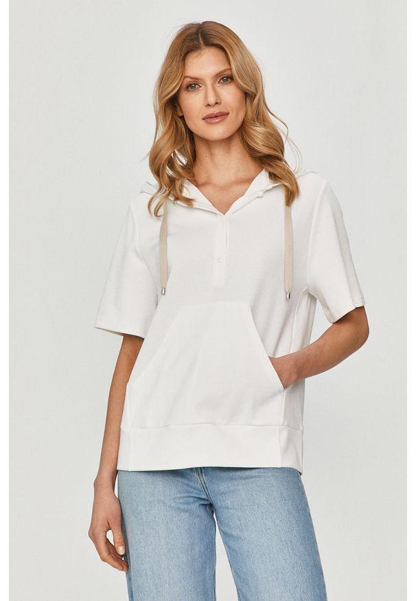 Biała bluza Max Mara Leisure na co dzień, z kapturem, gładkie, casualowa