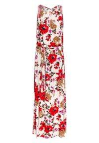 Długa sukienka w kwiaty bonprix kremowo-czerwony w kwiaty. Kolor: beżowy. Wzór: kwiaty. Długość: maxi