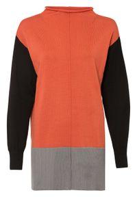 Długi sweter bonprix pomarańczowo-szaro-czarny. Kolor: czerwony. Długość: długie