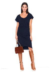Niebieska sukienka Makadamia asymetryczna
