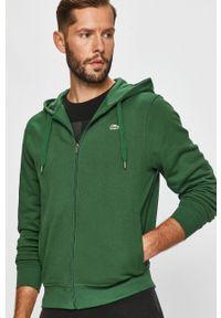 Zielona bluza rozpinana Lacoste z kapturem, na co dzień