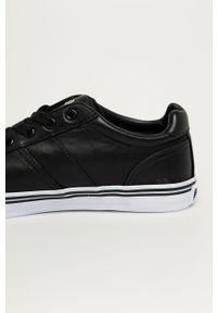 Czarne sneakersy Polo Ralph Lauren na sznurówki, z okrągłym noskiem, z cholewką