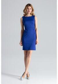 Figl - Niebieska Modna Ołówkowa Sukienka Bez Rękawów. Kolor: niebieski. Materiał: poliester, wiskoza, lycra. Długość rękawa: bez rękawów. Typ sukienki: ołówkowe