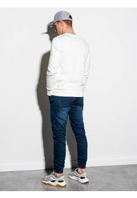 Biała bluza Ombre Clothing bez kaptura, z nadrukiem, klasyczna #5