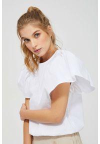 MOODO - Koszula z bufiastymi rękawami. Typ kołnierza: bez kołnierzyka. Materiał: bawełna. Długość rękawa: krótki rękaw. Długość: krótkie. Wzór: gładki