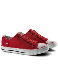 Big-Star - Trampki BIG STAR DD274339FW19 Czerwony. Okazja: do pracy, na uczelnię. Kolor: czerwony. Materiał: jeans, materiał. Szerokość cholewki: normalna. Wzór: napisy. Styl: klasyczny