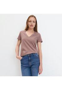 Brązowy t-shirt Mohito gładki