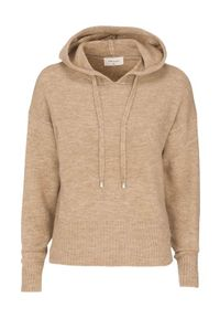 Beżowy sweter Freequent z kapturem, melanż, elegancki