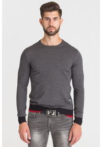 Szary sweter Ice Play w kolorowe wzory, z okrągłym kołnierzem
