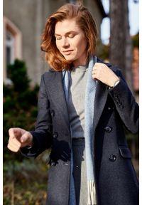Marie Zélie - Płaszcz wełniany Debora granatowy. Kolor: niebieski. Materiał: wełna. Wzór: motyw zwierzęcy. Sezon: zima. Styl: klasyczny #7